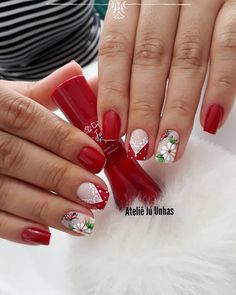 27 Unhas Artisticas Desenhas Para Inspirar Cute Nail Art, Cute Nails, Prom Nails, Spring Nails, Nails On Fleek, Christmas Nails, Hair And Nails, Finger, Nail Designs