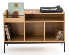 Compo oak vinyl storage unit at La Redoute - Retro to Go Record Player Stand, Music Stand, Low Bookcase, Studio Table, Ceramic Light, Vinyl Storage, Diy Entertainment Center, Dream Apartment, Lps