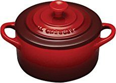 If you think Le Creuset mini cocottes are super cute and want to find some recipes, here is a list for you!   The Le Creuset mini cocotte recipes are a little hard to find, so feel free to add some if you know any! | Chicken Pot Pie, Green Chile Casserole, Mini Green Tart with Goat's Cheese, Mini Simnel Cake, and Le Creuset rhymes with soufflé.