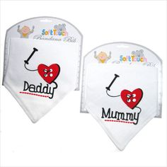 Have one to sell? Sell it yourself I love Mummy and Daddy bandana bibs MUM on eBid United Kingdom