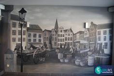 """Muurschildering markt in taverne """"De Met"""""""