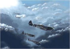 Spitfire LF IXC of Pierre Clostermann. Artist: Julien Camp