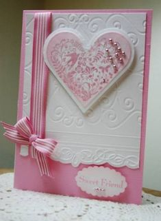 Pink embossed Valentine card Sweet card from splitcoaststampers Pretty Cards, Cute Cards, Wedding Anniversary Cards, Wedding Cards, Valentine Love Cards, Valentines, Embossed Cards, Creative Cards, Greeting Cards Handmade