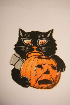 art by Angry Bob size Chat Halloween, Halloween Friday The 13th, Halloween Shadow Box, Vintage Halloween Cards, Halloween Trees, Halloween Signs, Halloween Pictures, Holidays Halloween, Halloween Decorations