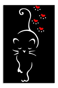 Upload your artwork and we take care of the rest. Silhouette Chat, Cat Tattoo Designs, Rock Painting Designs, Cat Drawing, Animal Drawings, Rock Art, Cat Art, Painted Rocks, Line Art