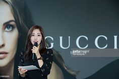 N announcer, Choi Hee attends the promotional event for Gucci timepieces at Shinsaehgae Department Store on June 14, 2014 in Seoul, South Korea.