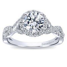 Marissa 14k White Gold Round Halo Engagement Ring angle 5