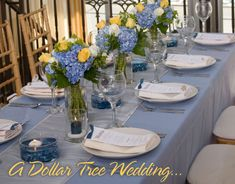 Blue - Reception table idea...table runners, table cloths, bowls, vases, wine glasses, tea lights, plates, flatware.