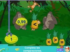 Comparación de números desde JUEGOS EDUCATIVOS PIPO. #Pipo #gorilas #decimales #comparaciones #TIC #educacion #escuela #repaso #Pipo