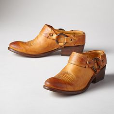 """CARSON CLOGS--Frye® leather clog shoes are a Sundance favorite, now re-envisioned in a rich, sunrise-toned leather with contrast stitching. Ultimate comfort with a Western spirit. Imported. Exclusive. Whole and half sizes 6 to 10, 11. 1-3/4"""" heel. This item is running 1/2 size larger.View our entire Frye Collection"""