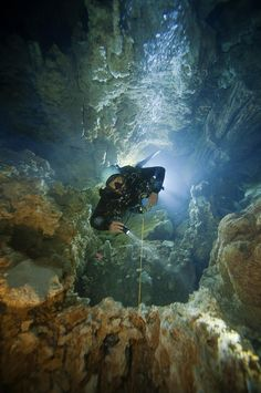 Ultimate Adventure Bucket List: Cave diver Kenny Broad's wildest dream trip is to cave dive and surf from Florida to the Bahamas. See all our Adventure Bucket List trips. Underwater Caves, Underwater World, Cave Diving, Scuba Diving, Adventure Bucket List, Adventure Travel, Abaco Bahamas, Bahamas Island, All Nature