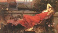 """""""Ariadne"""" by John William Waterhouse. (1898) 'Whan Adryane his wif aslepe was  For that hire syster fayrer was than she,  He taketh hire in his hond and forth goth he  To shipe, and as a traytour stal his wey,   Whil that this Adryane aslepe lay.'  Geoffrey Chaucer (c.1343-1400), 'The Legend of Good Women'"""