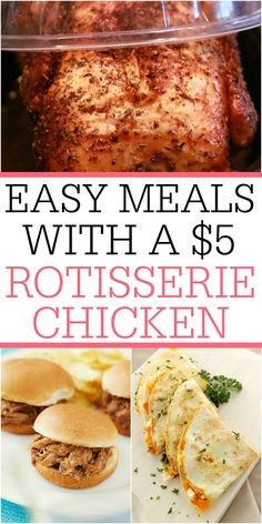 Skip the carry-out and save money with a rotisserie chicken. You can make these easy meals with a $5 rotisserie chicken. Feed your family for days on these simple meals. Simple Meals, Easy Meals, Chicken Feed, Rotisserie Chicken, Saving Money, Healthy Eating, Pasta, Canning, Healthy Recipes