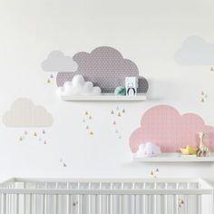 Wolken Kinderzimmer Deko mit IKEA Bilderleisten (Serie RIBBA oder Mosslanda) mit stylischen Mustern. Im Set enthalten 5 Wolken, davon 2 passend für die Bilderleisten und viele kleine Dreiecke zum Dekorieren. In zwei Farbkombinationen bei www.limmaland.com