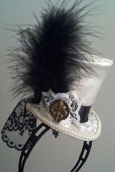 Alice Wonderland, Fleur De Lis, Steampunk Mardi Gras MIni Top Hat on hairband or hairclip.  Costume, Wedding, Kawaii Tea party