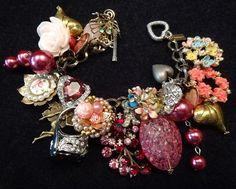 Vintage Charm Bracelet Roses Ring Pearls Fairy Heart Gems Romance By VintElegance.com