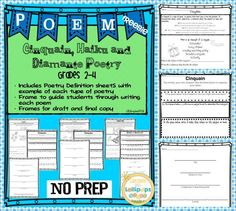Cinquain, Haiku and Diamante Poetry Grades 2-4 Teach your students to write poetry easily with these FREE poetry frames and graphic organizers.