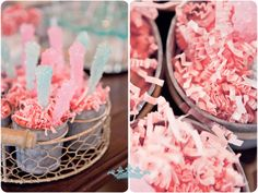 Gender Reveal Party- with chocolate covered pretzels with pink and blue