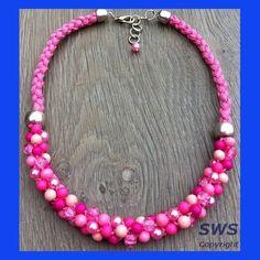 Sieraden, roze geknoopte ketting met kralen (fijn model, kralen 6mm)