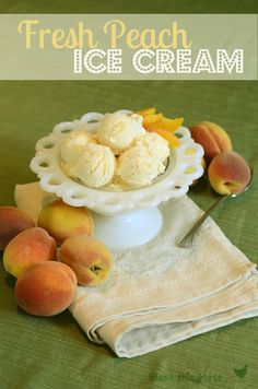 Fresh Peach Ice Cream recipe Peaches, whole milk, heavy whipping cream, salt, sugar, and vanilla extract.