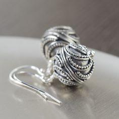 Crescent Moon earrings Sterling silver Bali earrings