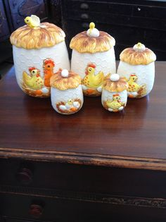 Vintage Sears Roebuck chick canister set. Very rare set. 1976 Made in Japan Canisters are in great shape but the shell on the lid of the large one is