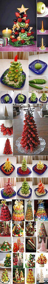 Fruit Christmas trees .. Edible center pieces