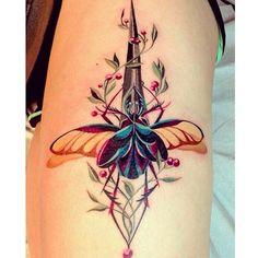 Botanical beetle dagger by @jawtattoos #JessicaAnnWhite Sacramento, California