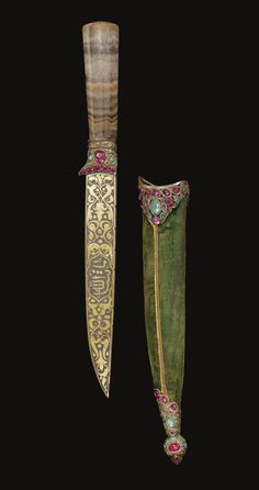 An Ottoman gem-set knife with agate hilt and matching scabbard and case with the tughra of 'Abd al-Hamid II AD) Swords And Daggers, Knives And Swords, Dagger Knife, Arm Armor, Fantasy Weapons, Katana, Islamic Art, Istanbul, Ottoman