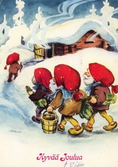 Scandi Christmas, Christmas Gnome, Christmas Cards, Elf Art, Elves And Fairies, Holiday Images, Children's Book Illustration, Leprechaun, Goblin