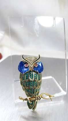 Plique A Jour Owl Brooch 14K Yellow Gold Owl by TonettesTreasures