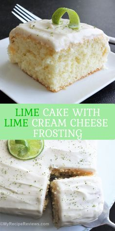 Lightly lime cake with tangy cream cheese frosting. We ate every crumb! Cream Cheese Eggs, Cake With Cream Cheese, Cream Cheese Frosting, Lime Cream, Lime Cake, Vegetarian Cheese, Yummy Cakes, Fun Desserts, Vanilla Cake