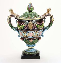 Hugo Lonitz, Germany, Majolica Renaissance Revival Urn and Cover