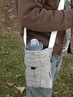 Using outgrown cargo (or scout) pants to create a sling type water bottle holder.