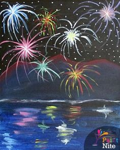 Join us for a Paint Nite event Mon Dec 2015 at 119 N St Richmond, VA. Purchase your tickets online to reserve a fun night out! Firework Painting, Night Sky Painting, Summer Painting, Blackboard Art, Fireworks Art, Wine And Canvas, Paint And Sip, Chalk Art, Painting Inspiration