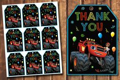 Blaze and the Monster Machines birthday tags Blaze thank you
