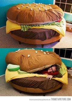THE BURGER BED!  #Cheeseburger #bedideas #bed