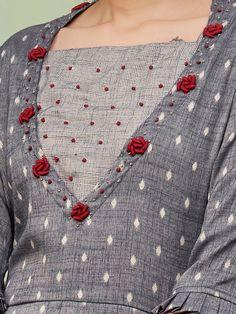 Diamond Buta Printed Kurti & Glen Checkered Pant Set – Grey - Fashor