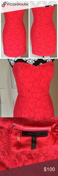 """Red Lace Strapless Dress Good condition, Preloved.   No tears or marks. 27"""" in length. Fabric polyester, spandex. Fabric does not stretch. Laying flat bust 17"""", waist 14"""" hip 18.5. BCBG Dresses Strapless"""