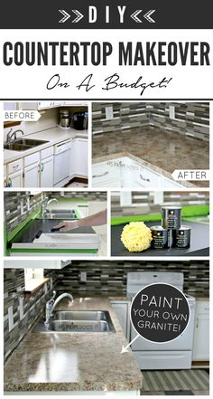 "DIY ""granite"" using Giani™ Stone Paints for Countertops - A simple and low-cost way to redo your Kitchen or Bathroom! www.gianigranite.com"