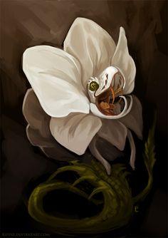 darkfantasypics:Orchid Viper by Kipine  Remind you of anyone at work?