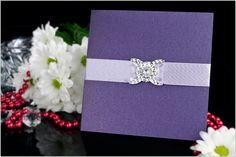 Zaproszenia ślubne DKSK, perłowe fioletowe.
