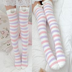 Color:A.Tips: *Please double check above size and consider your measurements before ordering, thank you ^_^ Kawaii cartoon plush stockings Pastel Fashion, Kawaii Fashion, Cute Fashion, Pastel Outfit, Pink Outfits, Cute Outfits, Stockings Outfit, Cute Stockings, Thigh High Socks