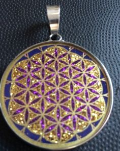 """Necklace Flower Of Life Lapis Gemstone 1.3/16"""" Pendant Sterling Silver Best Gift"""