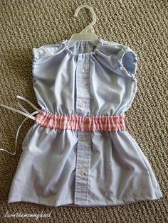 DIY men's shirt into girls dress