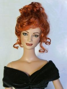 About Constance: Constance is an early  Charlotte repaint by DbD. Her hair was cropped and she is now a wig model. Black velevet gown is by DKM design.