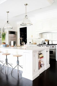 "Sue De Chiara's new home in Connecticut - ""White kitchens are and probably always will be my favorite. I love all the natural light this room gets,"" Designed in collaboration with Lauren Muse of Muse Interiors"