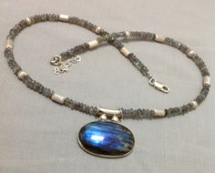Natural Labradorite Necklace with sterling silver beads by OritWhiteLight on Etsy https://www.etsy.com/listing/209083792/natural-labradorite-necklace-with