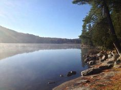 One of our campsites on Biggar Lake, Algonquin Park. We love the view.