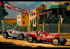 Gran Prix du Monaco - Automotive Art by Barry Rowe Classic Race Cars, Motorcycle Art, Vintage Race Car, Car Drawings, Automotive Art, Car Painting, Courses, Art Cars, Corvette